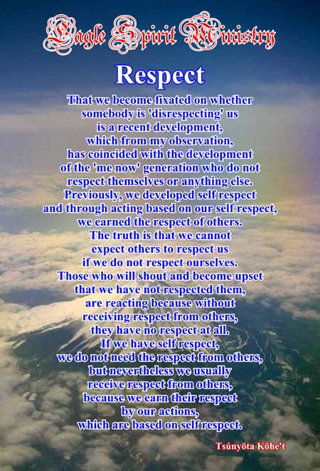 Being respectful of others http www eaglespiritministry com issues